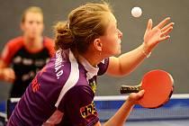 PODÁNÍ. Daniela Rozínková patří dlouhodobě k oporám extraligového družstva stolních tenistek SK Dobré.
