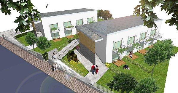 Vizualizace stavby nových sociálních bytů vBorohrádku