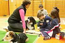 Děti v dobrušské základní škole Opočenská navštívily členky neziskové organizace AURA CANIS se čtyřnohými spolupracovníky