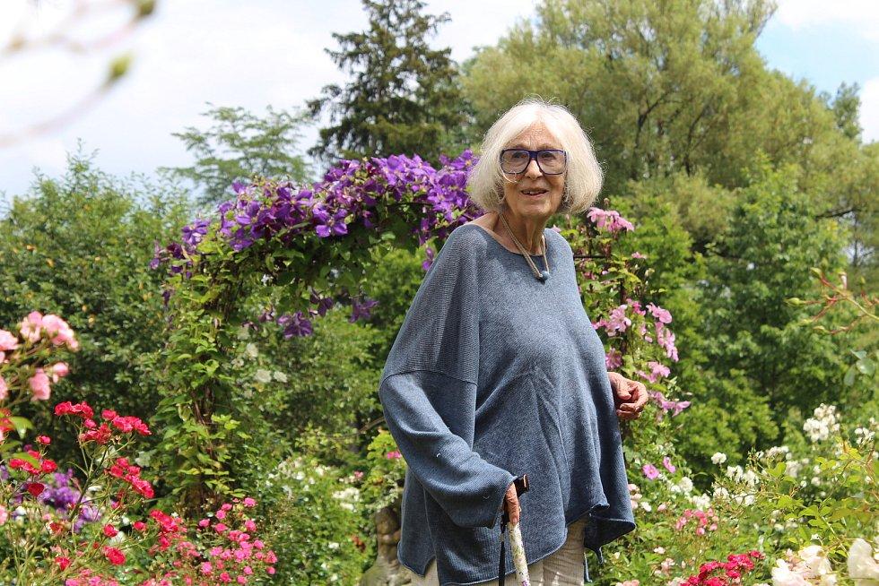 Diana Phipps Sternbergová ve své milované růžové zahradě. Foto: Deník/Jana Kotalová