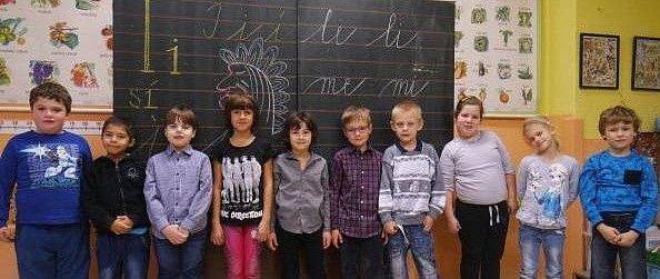Žáci 1.třídy Církevní základní školy, Borohrádek.