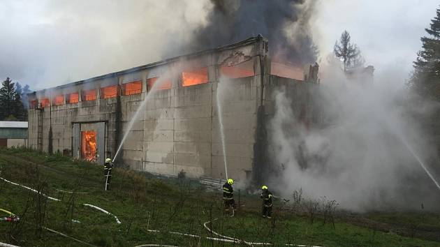 Velký požár v Bartošovicích v Orlických horách