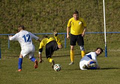 Kostelečtí fotbalisté (v bílém) v jarní premiéře remizovali s Vysokou 1:1, v penaltovém rozstřelu uspěli hosté.