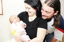 DANIELA JANOUŠKOVÁ:  Pavlína a Tomáš Janouškovi z Lukavice přivedli na svět prvorozenou dceru Danielu. Narodila se 11. dubna ve 21.34 hodin (3,08 kg a 51 cm).