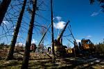Stavba nové rozhledny v Olešnici v Orlickýh horách.