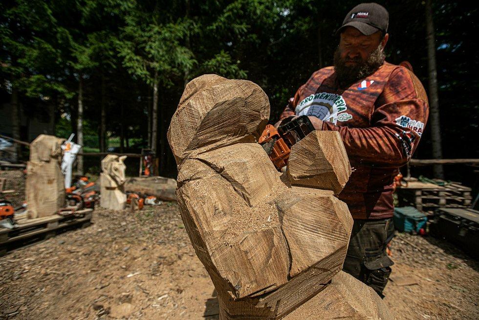 Na tradiční akci předvedli řezbáři svůj um s pilou i dlátem.