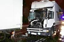 Střet dvou kamionů v Moravské Třebové.