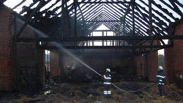 K rozsáhlému požáru hospodářské budovy vyjížděli ve čtvrtek kolem sedmnácté hodiny profesionální i dobrovolní hasiči do Boršova.