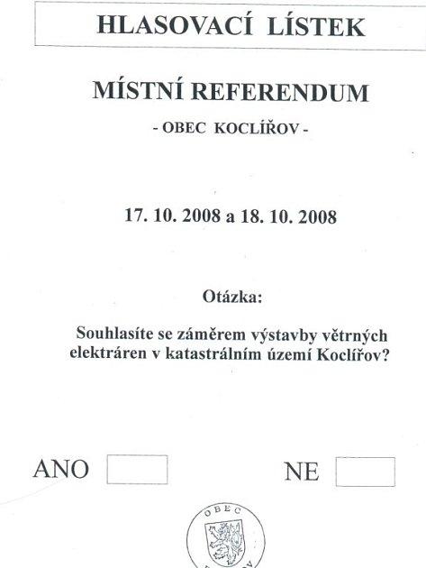 Hlasovací lístek referenda ovětrných elektrárnách