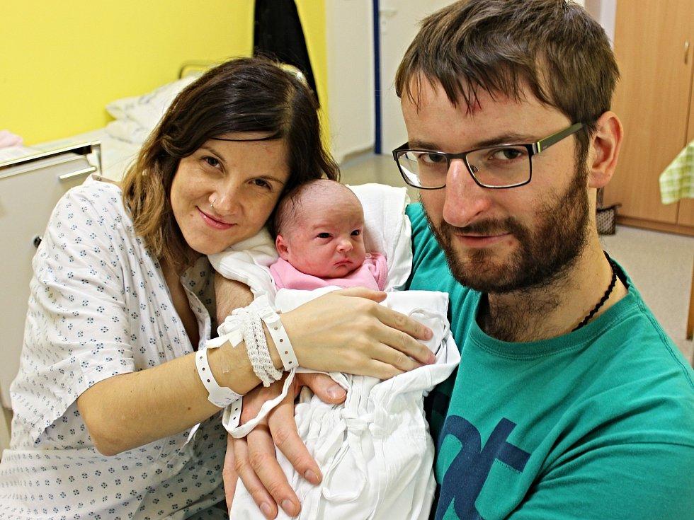 EVA KOBZOVÁ se narodila 14. listopadu ve 12.39 hodin. Vážila tři kilogramy a měřila 49 centimetrů. S rodiči Štěpánkou Švarcovou a Michalem Kobzou bude vyrůstat v Rudolticích.