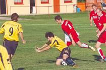 Fotbalový zápas I.B třídy. Ilustrační foto.