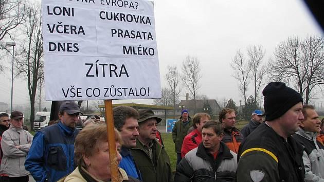 Protesty zemědělců v Městečku Trnávka.