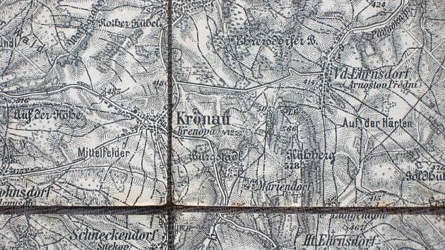 """Křenov a okolí na nejproslulejší rakouské mapě """"speciálce"""" z let 1876 až 1877."""