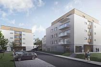 Studie bytových domů v Litomyšli u nemocnice.
