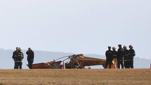 Havárie ultralehkého letadla na poličském letišti.