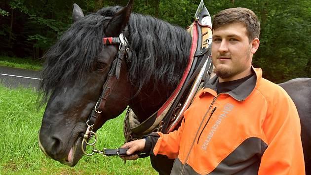 Patrik Šandor stahuje s koňmi klády z lesa, kam se technika nedostane.