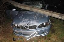 Řidič BMW se lekl zajíce a narazil do svodidel.