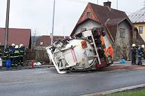 Hvavarovaný kamion v Březové nad Svitavou.