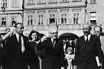 Zdeněk Nejedlý při první poválečné návštěvě Litomyšle uskutečněné 14. července 1945.