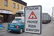 Dopravní značení v Moravské Třebové v době uzavírky silnice I35.