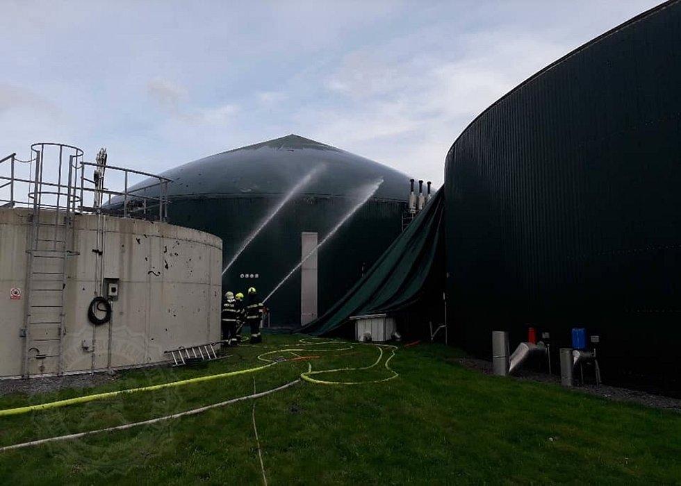 Požár bioplynky v Dětřichově.