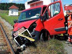 Nehoda v Kamenci na železničním přejezdu.