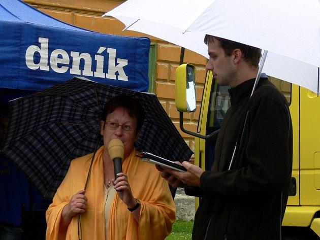 Redaktor Svitavského deníku Vladislav Steinbauer diskutoval se starostkou o problémech města.