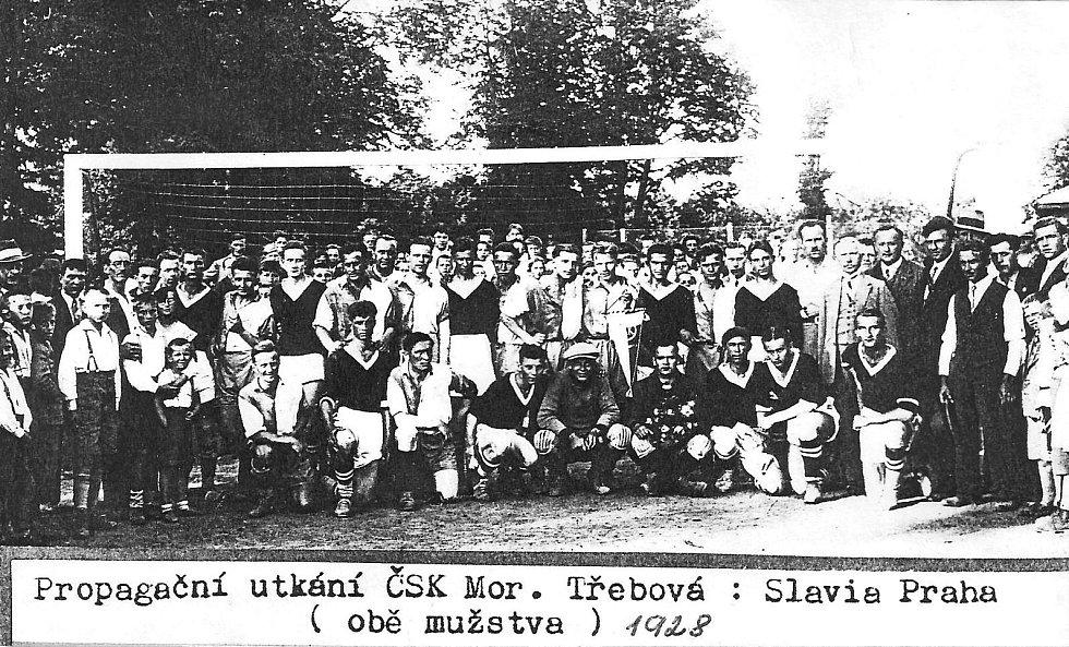 ČSK Moravská Třebová vs. Slavia Praha (1928), první zmínka o českém fotbale v Moravské Třebové.