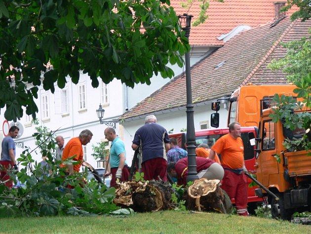 Vichřice likvidovala i stromy na zámeckém nádvoří
