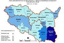 Podíl nezaměstnaných na obyvatele v obcích s rozšířenou působností Pardubického kraje