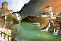 """""""Římský"""" most v Mostaru (Római híd Mostárban), 1903, 92 x 185 cm (reprodukce v depozitu Oldřicha Pakosty)."""