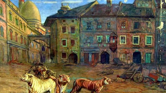 Die totte Stadt, Mrtvé město, 1919 - 1921, olej na plátně, Gustav Tauschinsky.
