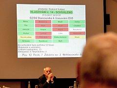 """VÝSLEDEK hlasování, které podpořilo budování D35 ve variantě  """"0"""".  Zastupitelé rozhodli těsnou většinou."""