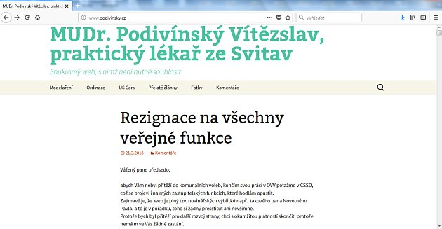 Krajský zastupitel oznámil na webu svoji rezignaci.