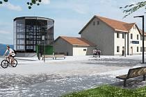 Vizualizace parkovací věže pro cyklisty po revitalizaci prostoru nádraží