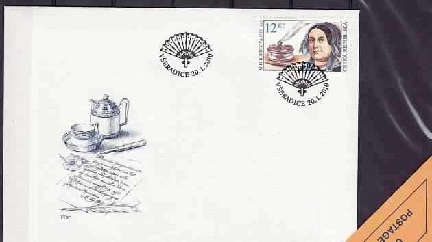 RETTIGOVÁ  se letos v lednu objevila na poštovní známce. O vydání se zasloužila obec Všeradice.
