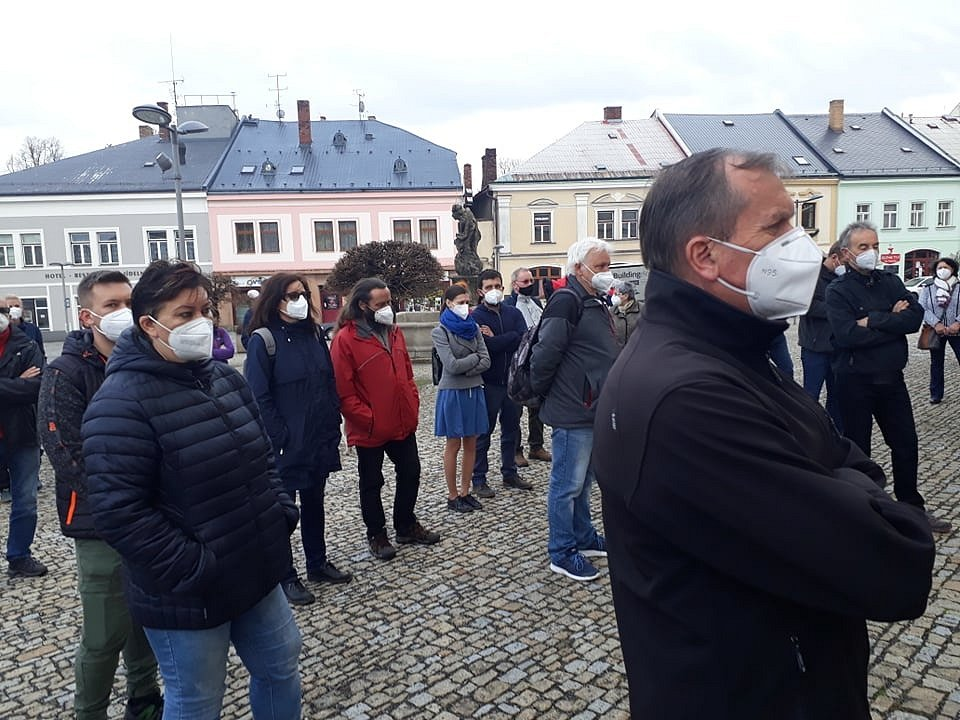 Protizemanovská demonstrace v Poličce
