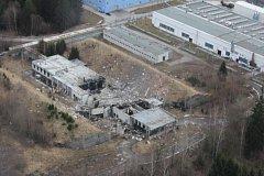 Letecké záběry na místo výbuchů