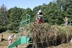 NA DAMAŠKU rostou chráněné rostliny. Dobrovolníci trávu kosí ručně. Na vidlích ji odnášejí na připravené vozy. Mezi ohroženými druhy je také rosnatka okrouhlolistá.