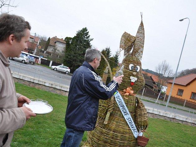 KŘEST SLIVOVIČKOU. To je už v Biskupicích  tradice.  Včera starosta Dalibor Šebek na návsi  pokřtil pálenkou obřího zajíce – Biskupického strakáče.