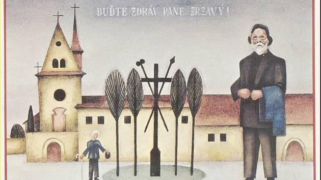 """Obraz Josefa Matičky nazvaný """"Buďte zdráv, pane Zrzavý!"""""""
