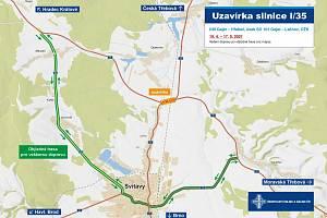 Uzavírka v úseku Gajer -Hřebeč. Začínají letošní opravy vozovky na sil. I/35