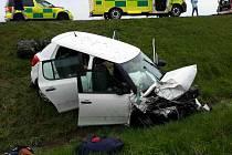 Nehoda čtyř aut v Janově.