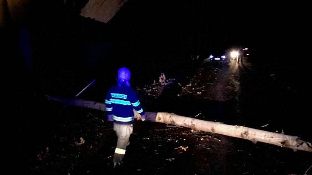 Hasiči odstraňovali spadlý strom v Rychnově na Moravě.