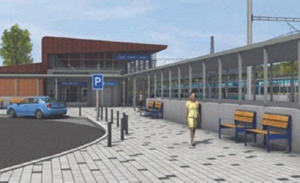 Tato odbavovací hala vÚstí nad Orlicí, která byla původně projektovaná, nakonec stát nebude. Nebude tady totiž žádná, jen zastřešený přístup na peróny.