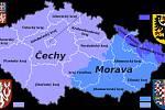 Mapa České republiky s vyznačenými hranicemi dnešních krajů a historických zemí.