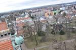 Pohled na Litomyšl z věže zámku.