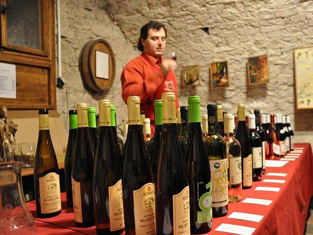 V zámeckém sklepení proběhla ochutnávka mladých vín.