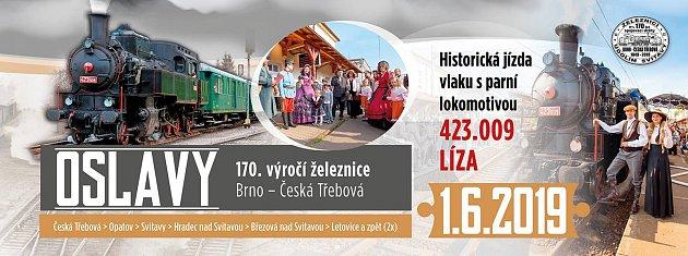 Nadcházející víkend bude město patřit velkolepým oslavám 170.let od zprovoznění železnice zČeské Třebové do Brna, na které se nabalí řada dalších akcí.