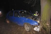 Opilý řidič nezvládl zatáčku a narazil do stromu